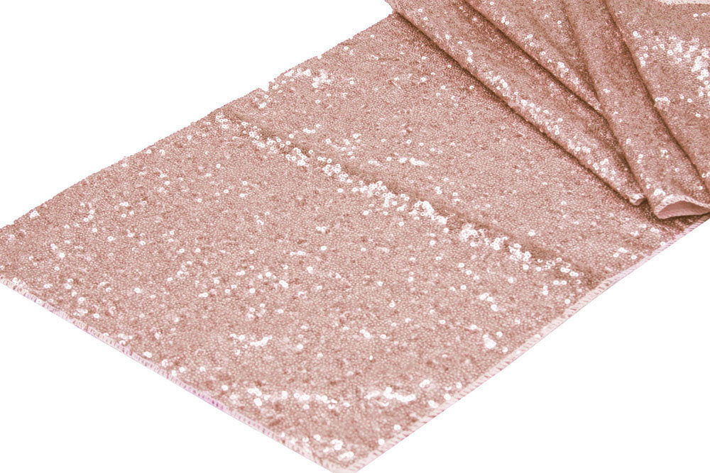 rose gold sequin table runner knot and nest designs