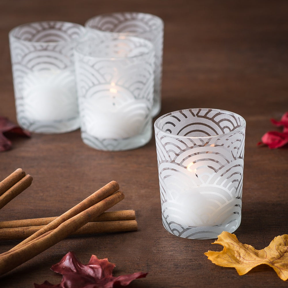 Frosted pattern votives - 12 pack - Knot and Nest Designs