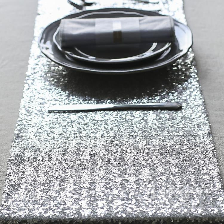 Silver Sequin Table Runner - Knot and Nest Designs