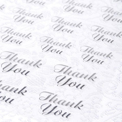 Silver Thank you Stickers - Knot and Nest Designs