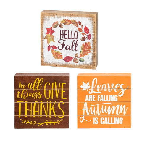 3 Pack Fall Box Signs - Knot and Nest Designs