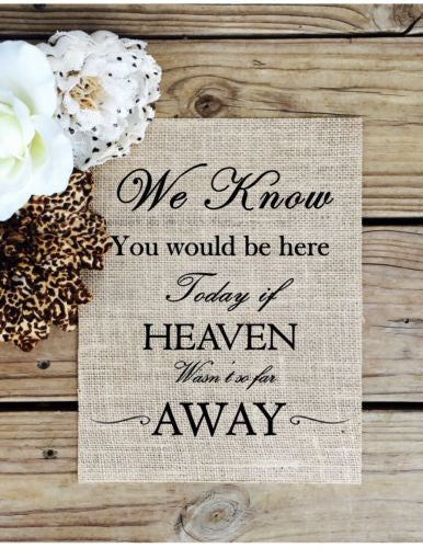 We know you woud be Here today if Heaven weren't so far away  - Burlap Sign