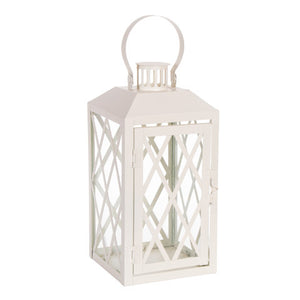 Load image into Gallery viewer, Large White Metal Lantern - Knot and Nest Designs