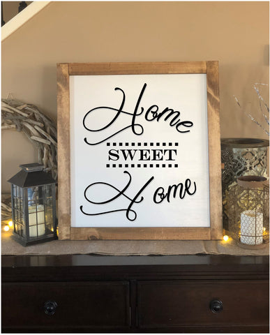 Large Home Sweet Home Farmhouse Sign - Real Pinewood - Knot and Nest Designs