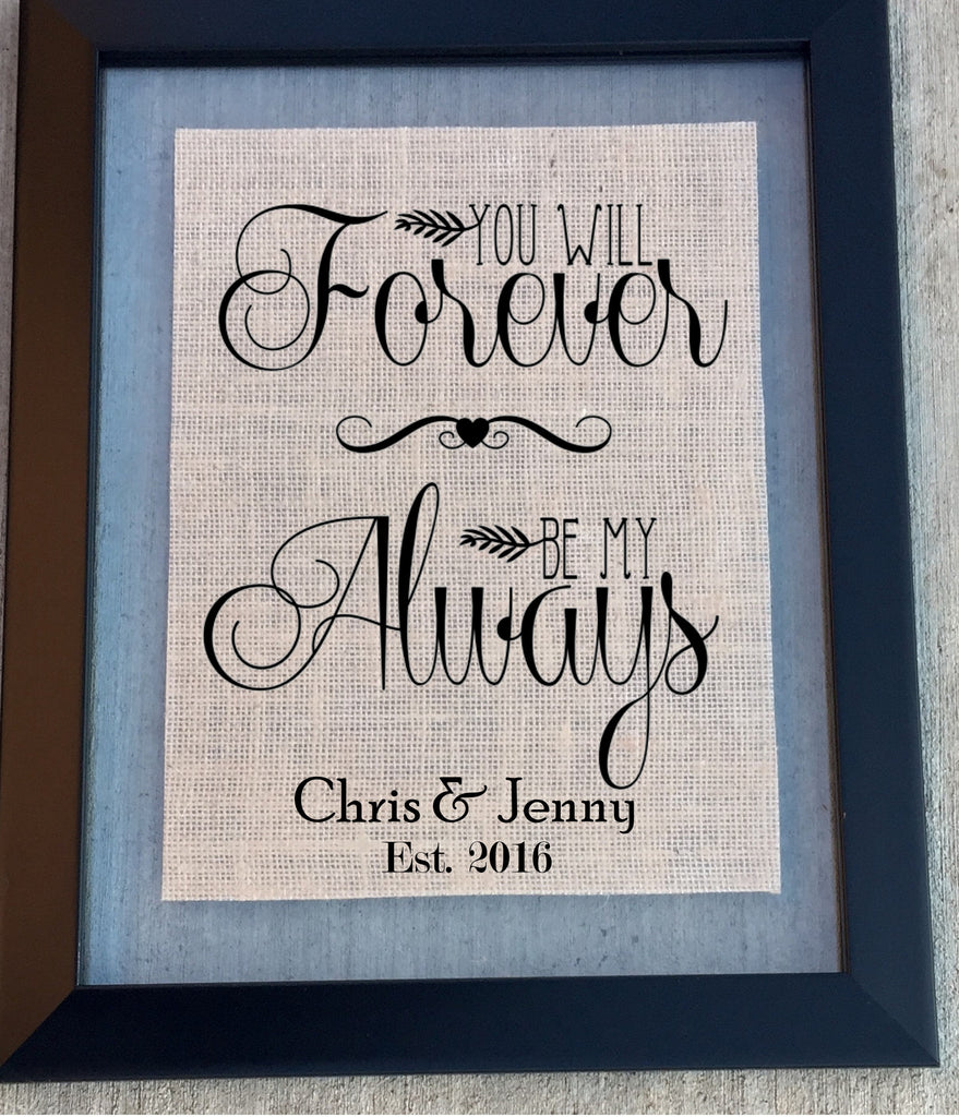 Valentines Gift You Will Forever Be My Always - Burlap Sign - Knot and Nest Designs