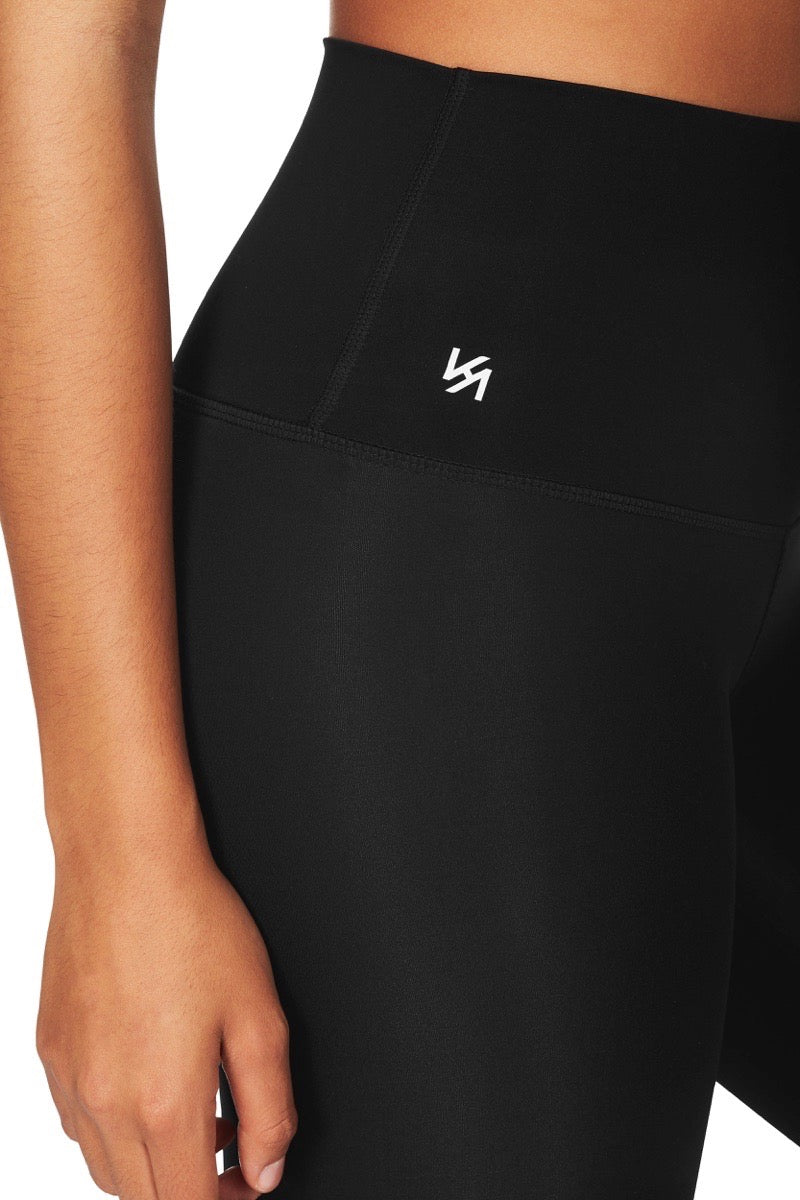 Close up shot of leggings with Kula logo
