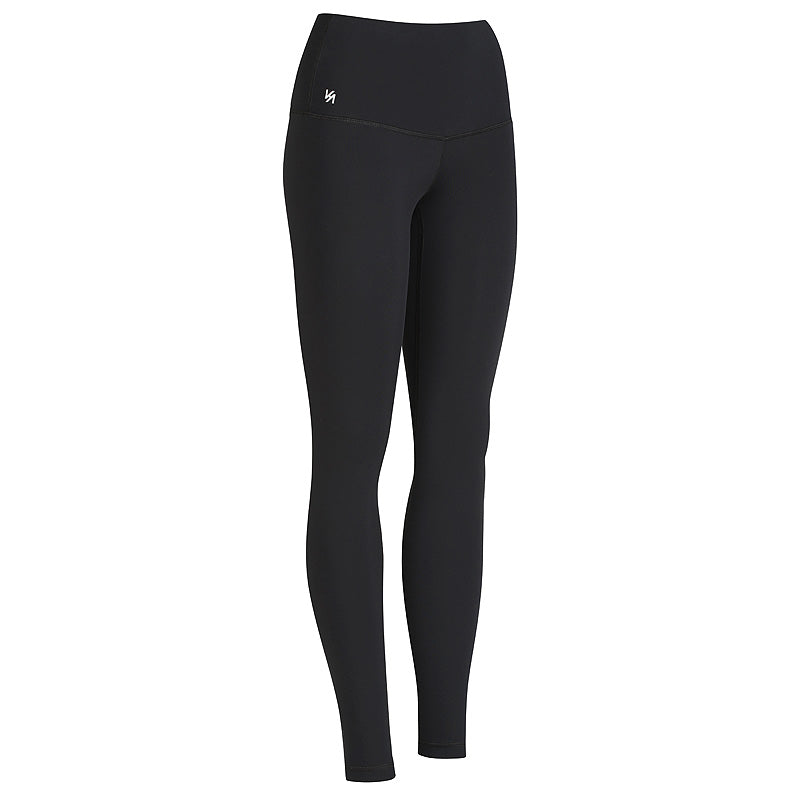 Black high waisted compression yoga pants with logo printed on waistband