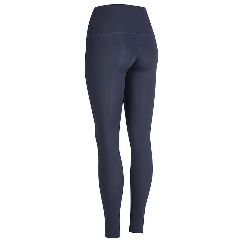 back view of navy high waisted compression yoga tights