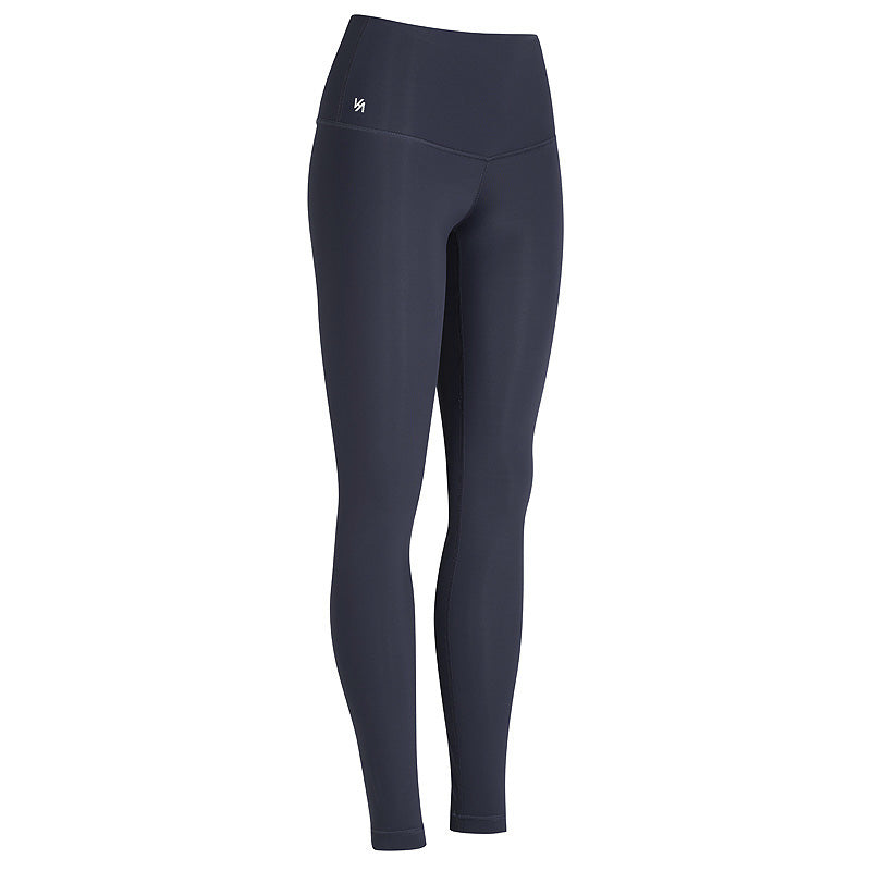 navy high waisted compression yoga pants with logo printed on waist band