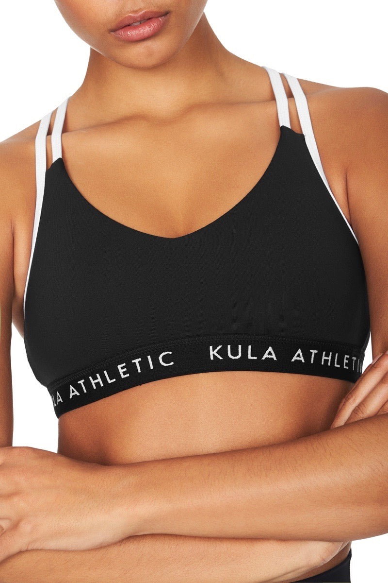 Close up shot of model wearing black v-neck sports bra crop top