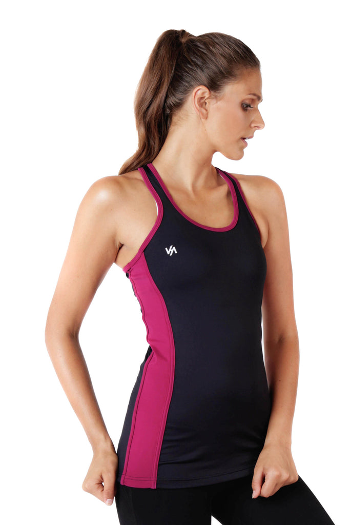 Model wearing black tank top with pink trim details side view