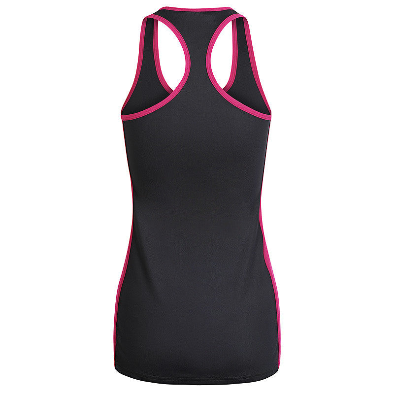Image of black tank top with pink contrast details back view