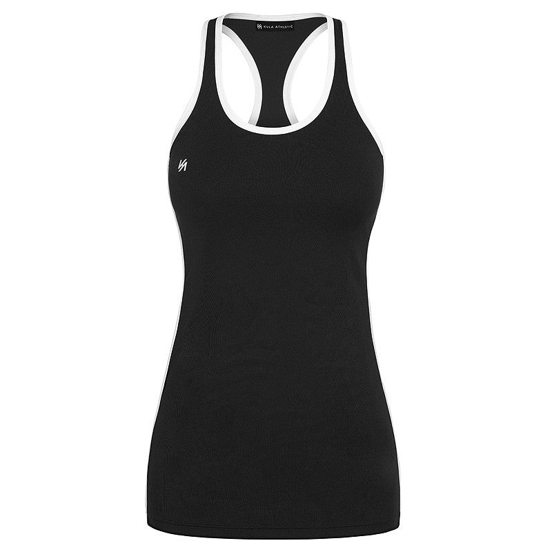 Black racerback tank top with KA logo and white side panels