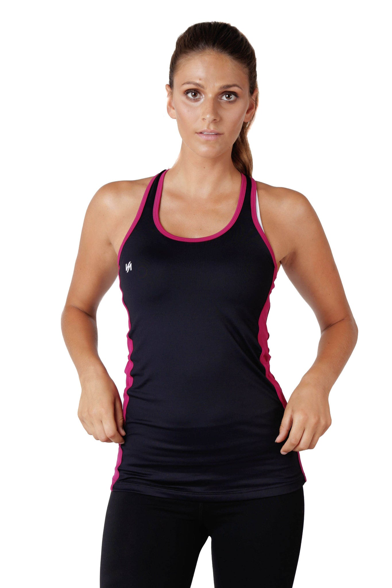Model wearing black and pink tank top with KA logo