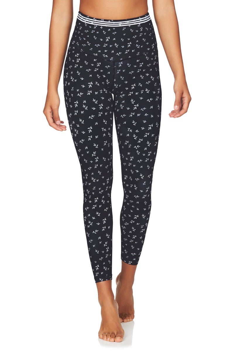 Om High Rise 7/8 Yoga Pants in Navy Floral