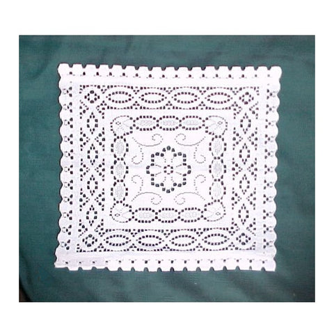"Scottish Table Lace - 13"" x 15"" Doily - Ivory & White"