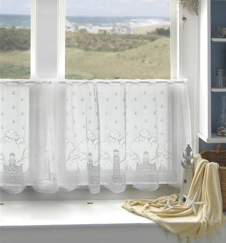 Lighthouse Lace Curtains - White - Sold Out