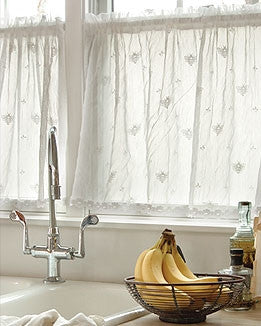 Bee Lace Curtains with Trim by Heritage Lace - Ecru