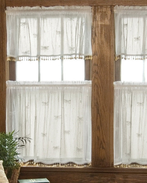 Dragonfly Lace Curtains, Sidelights, Door Panels, with and without Trim