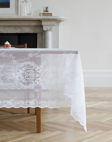 "Lydia Scottish Lace Tablecloth - 70 x 80"" - Ivory"