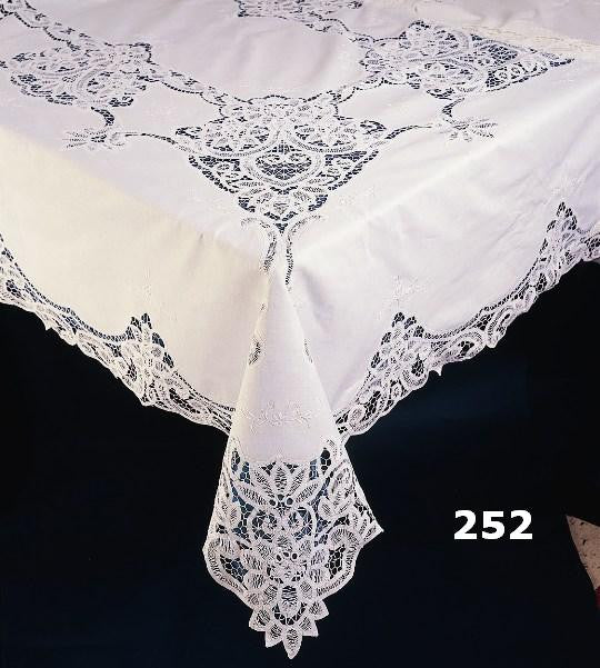 Sold Out - Battenburg Lace Tablecloth, 72 x 126, White, Oblong, 12 Napkins