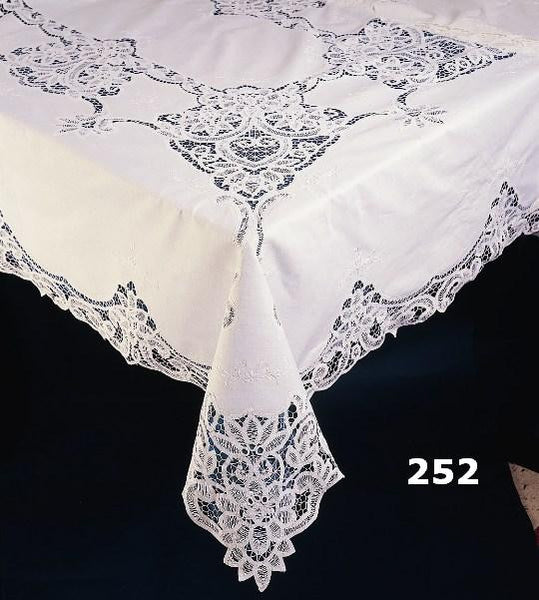 SOLD OUT - Battenburg Lace Tablecloth, 72 x 126, Ivory/Ecru, Oblong, 12 Napkins - Linens