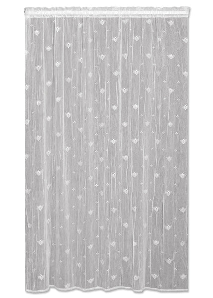 Bee Lace Curtains Tier with Trim - White