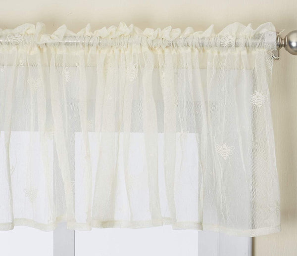 Bee Lace Curtains with Hem - Ecru