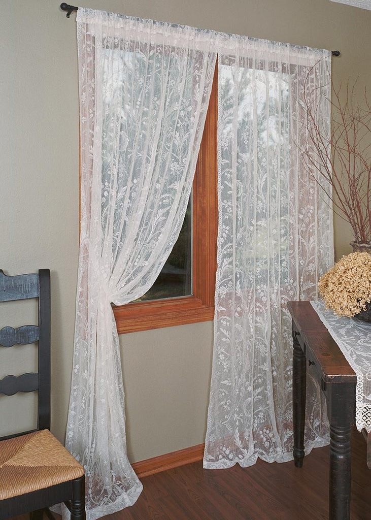 Coventry Lace Curtains - Rod Pocket and Bottom Hem - Ivory