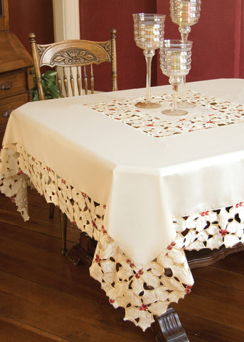 Holiday Holly Lace Tablecloth, 54 x 54 Square, Cream, Heritage Lace, HH-5454C - Sold Out
