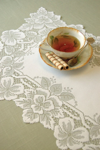Heirloom Table Lace - 12 x 20 Doily White & 14 x 20 Placemat Ecru