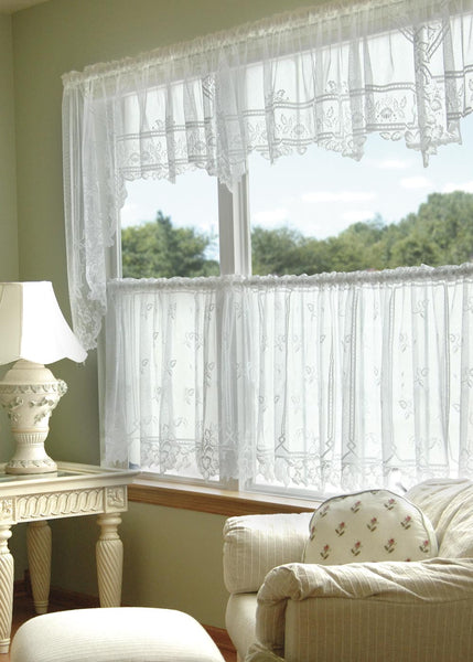 "Heirloom Lace Curtain Sheer Swag Pair 70x45""L - Heritage Lace - White"