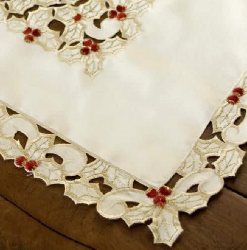 Holiday Holly Lace Tablecloth, 54 x 54 Square, Cream, Heritage Lace, HH-5454C