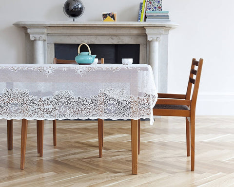 Elgin - Isabel Scottish Lace Tablecloth - 70 x 126 inches - White