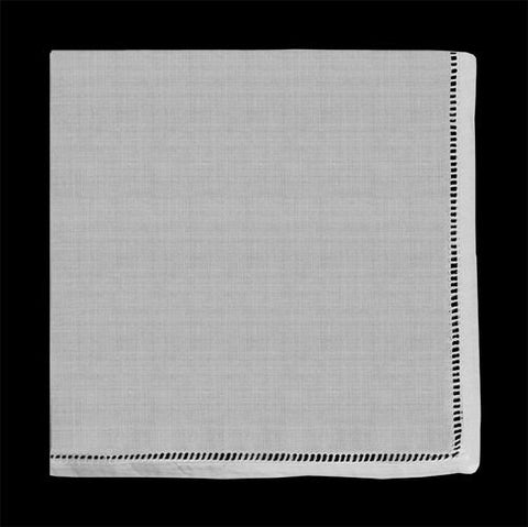 "Ladies 100% Irish Linen Hemstitch Handkerchief - 12"" Square - Set of 2 - White"