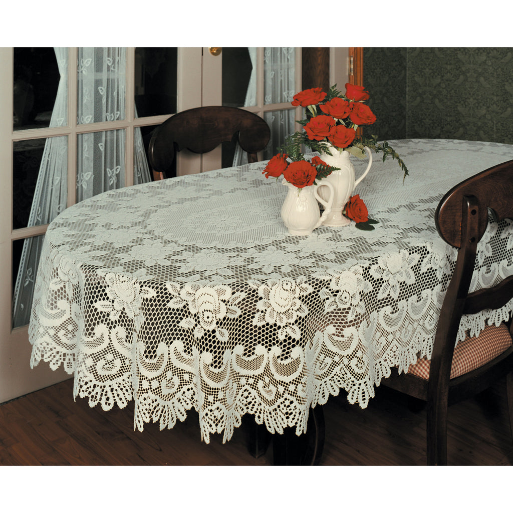 Rose Lace Tablecloth, 60 X 108, Ecru, Oval, Heritage Lace 56680E