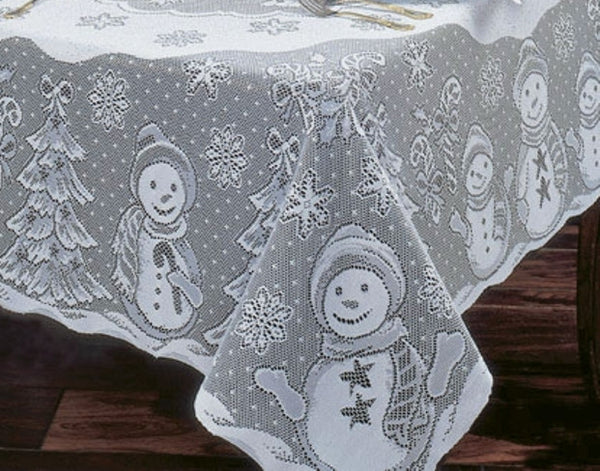 Snowman Family Lace Tablecloth - White - 60 x 84 inches