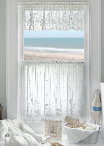 Seascape Lace Curtains - White - 60 x 30 Tier - One Piece - Sold  Out