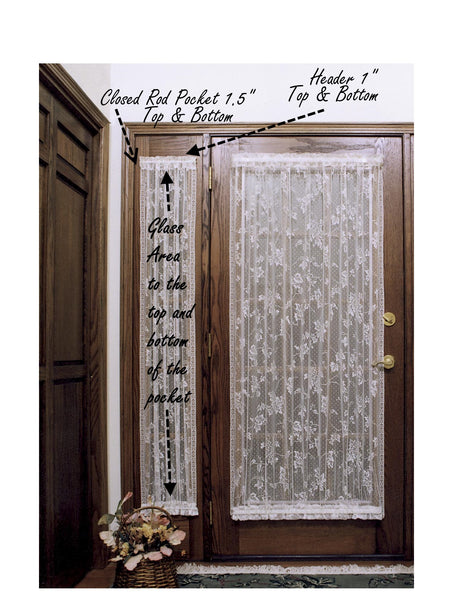 Bee Lace Curtains Sidelights - Ecru and White - Side Door Curtains