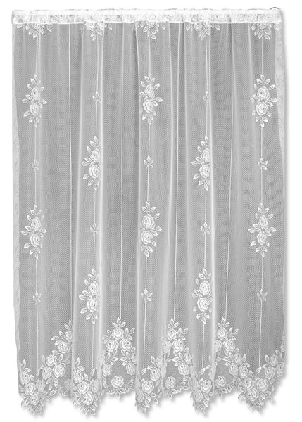Tea Rose Lace Curtains - Ecru, Pink & White