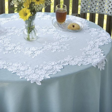 Tea Rose Table Lace - 15 inch Round - White - Sold Out