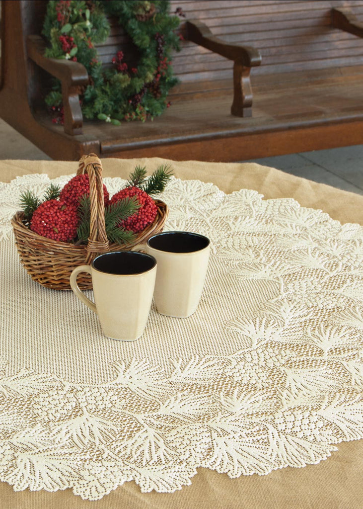 Woodland Table Lace Topper Tablecloth 43 inch Round Ecru
