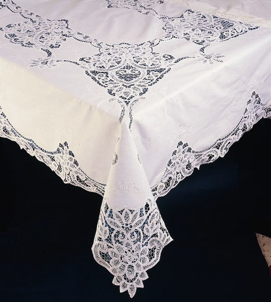 "Sold Out - Battenburg Lace Tablecloth, Fine Cotton, 72x90"", Oblong, 8 Napkins, White"