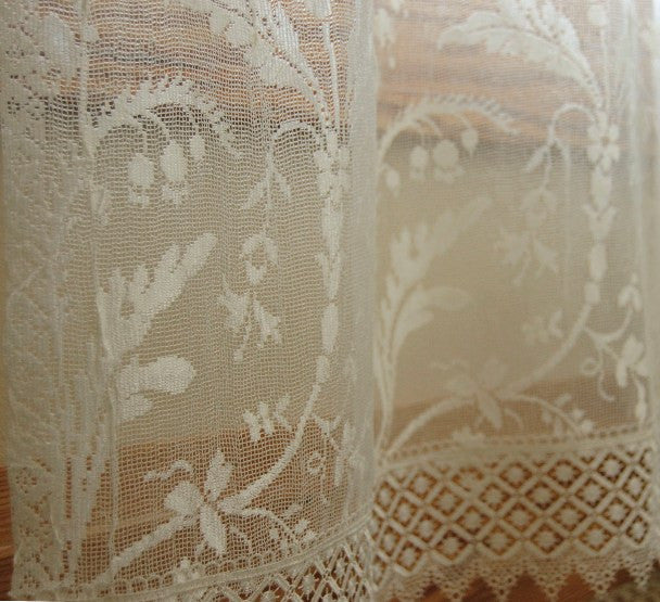 Coventry Lace Curtains - Macrame Trim on Bottom with Rod Pocket - Ivory