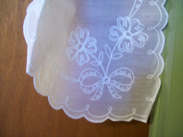Swiss Tambour Lace Curtains - 80 x 38L - Swag Pair - White