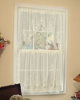 Tea Rose Lace Curtains Ecru Pink Amp White Tb Stores
