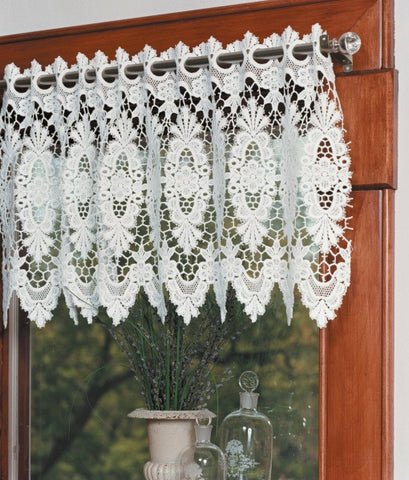 Victoria Macrame Ring Lace, White, Heritage Lace, 2204W, Exquisite Window Decor