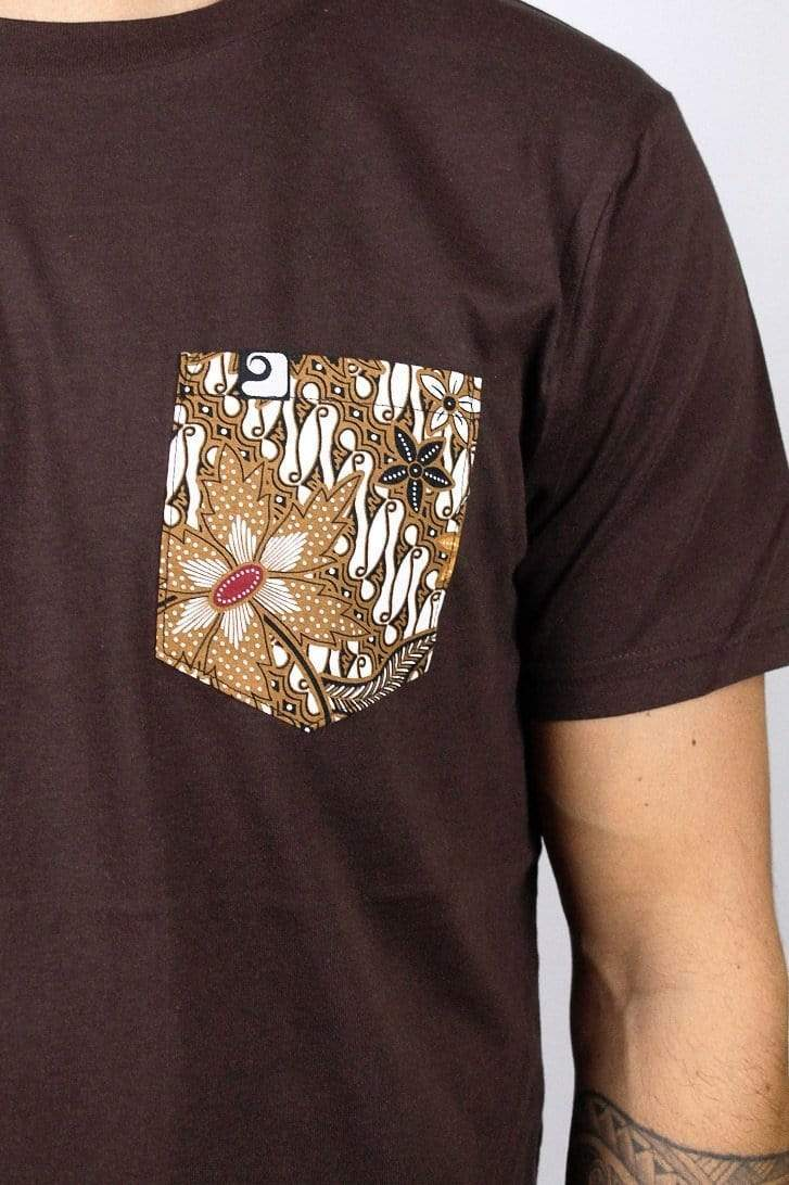 BROWN FLOWER POCKET TEE - panamunaproject Ethical, Organic & Sustainable T-shirts