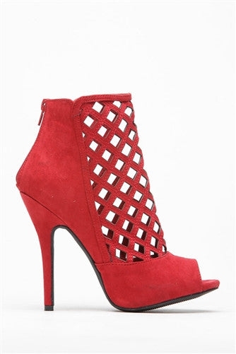Wine Caged Bootie
