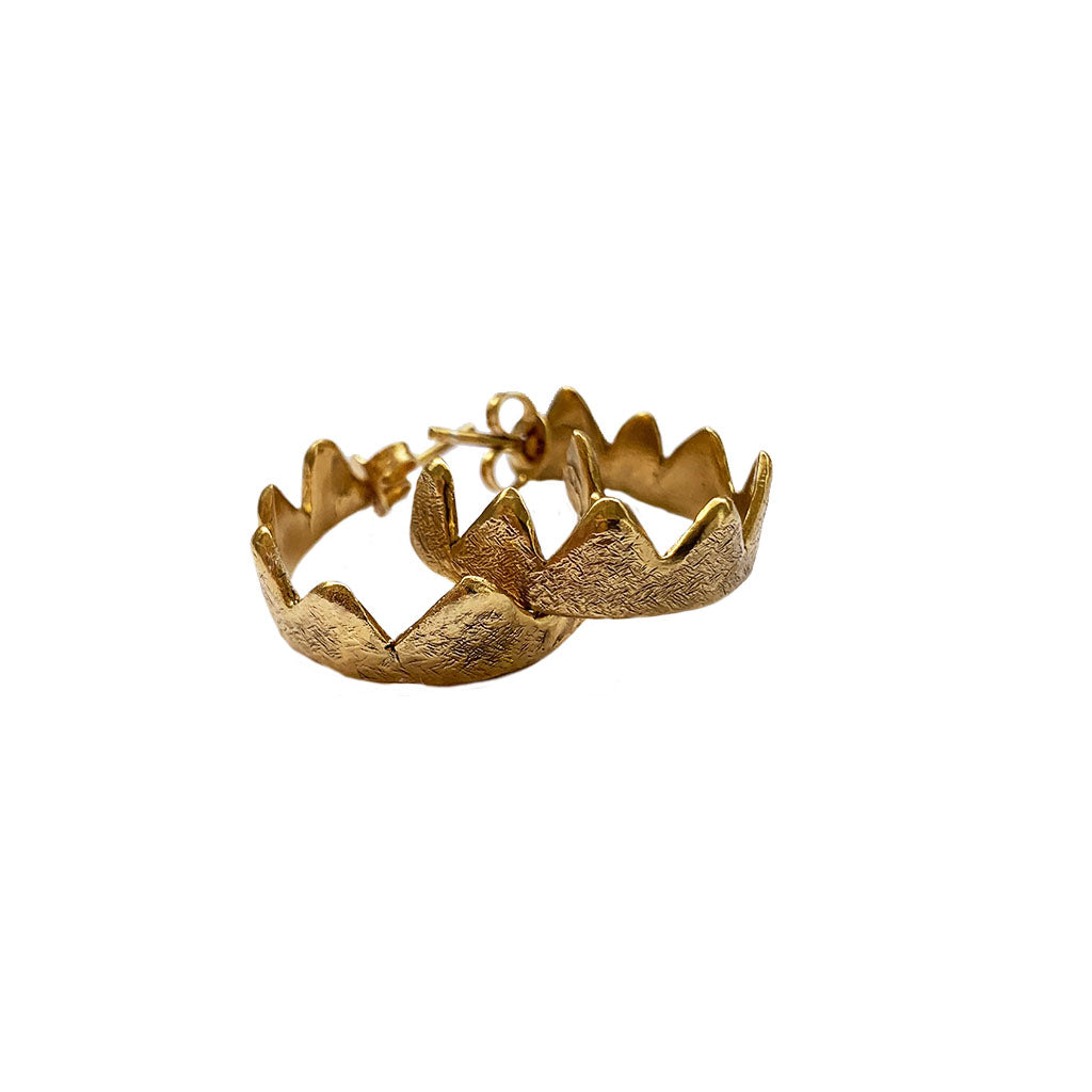Large Crown Hoops 18ct Gold Plated